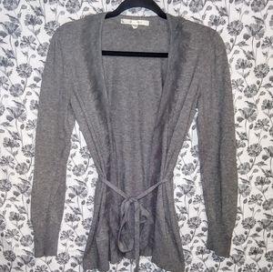 LC-Lauren Conrad- Grey/Frayed Drape Front Cardigan